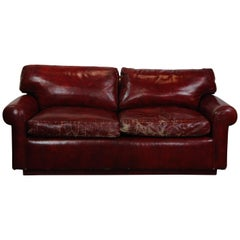 Red Faux-Leather Loveseat