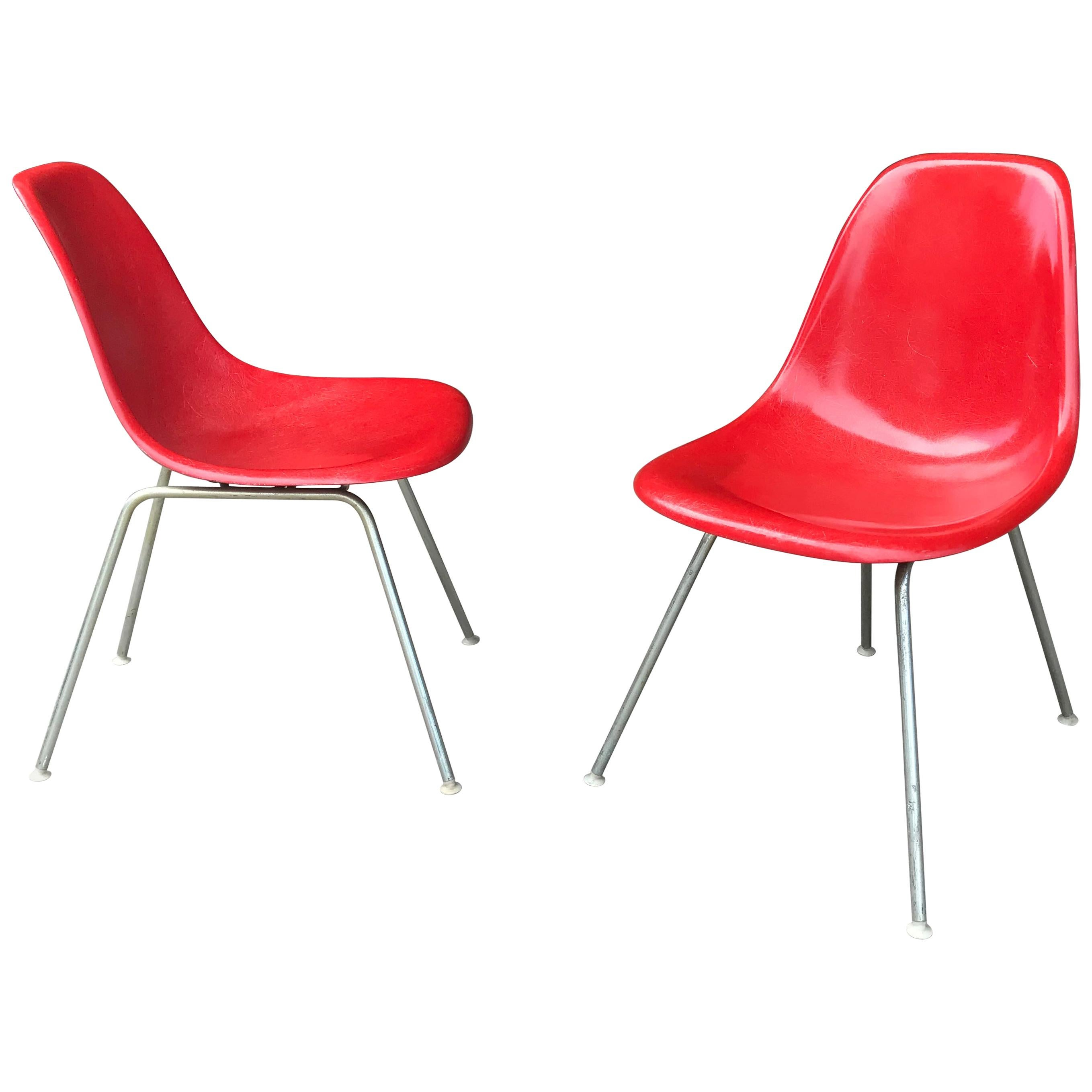 Red Fiberglass Charles and Ray Eames Side Shell Chairs, Scoops Herman Miller