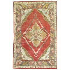 Red Field Antique Oushak Foyer Size Rug