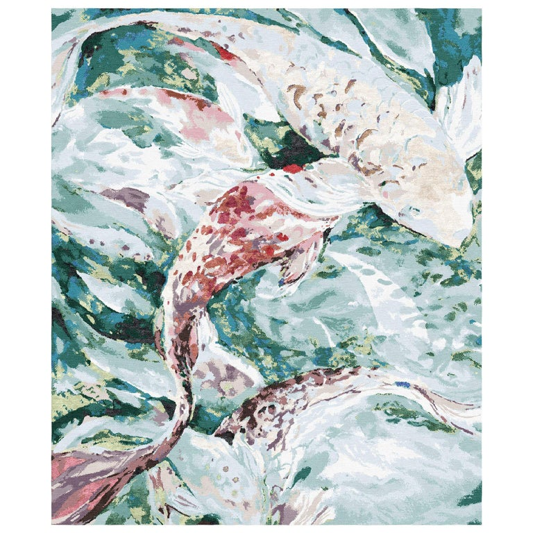 Red Fish - Animalistic Contemporary Hand Knotted Wool Silk Rug For Sale