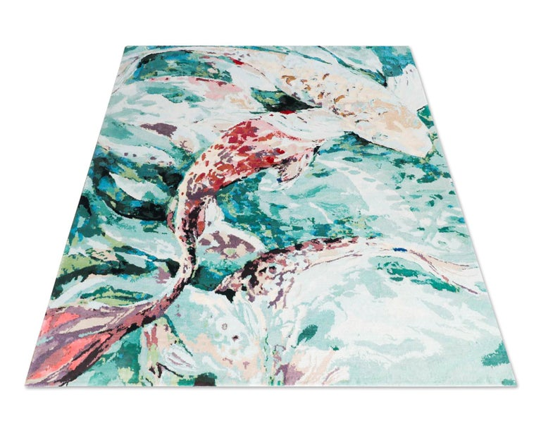 Red Fish - Animalistic Contemporary Hand Knotted Wool Silk Rug For Sale 2