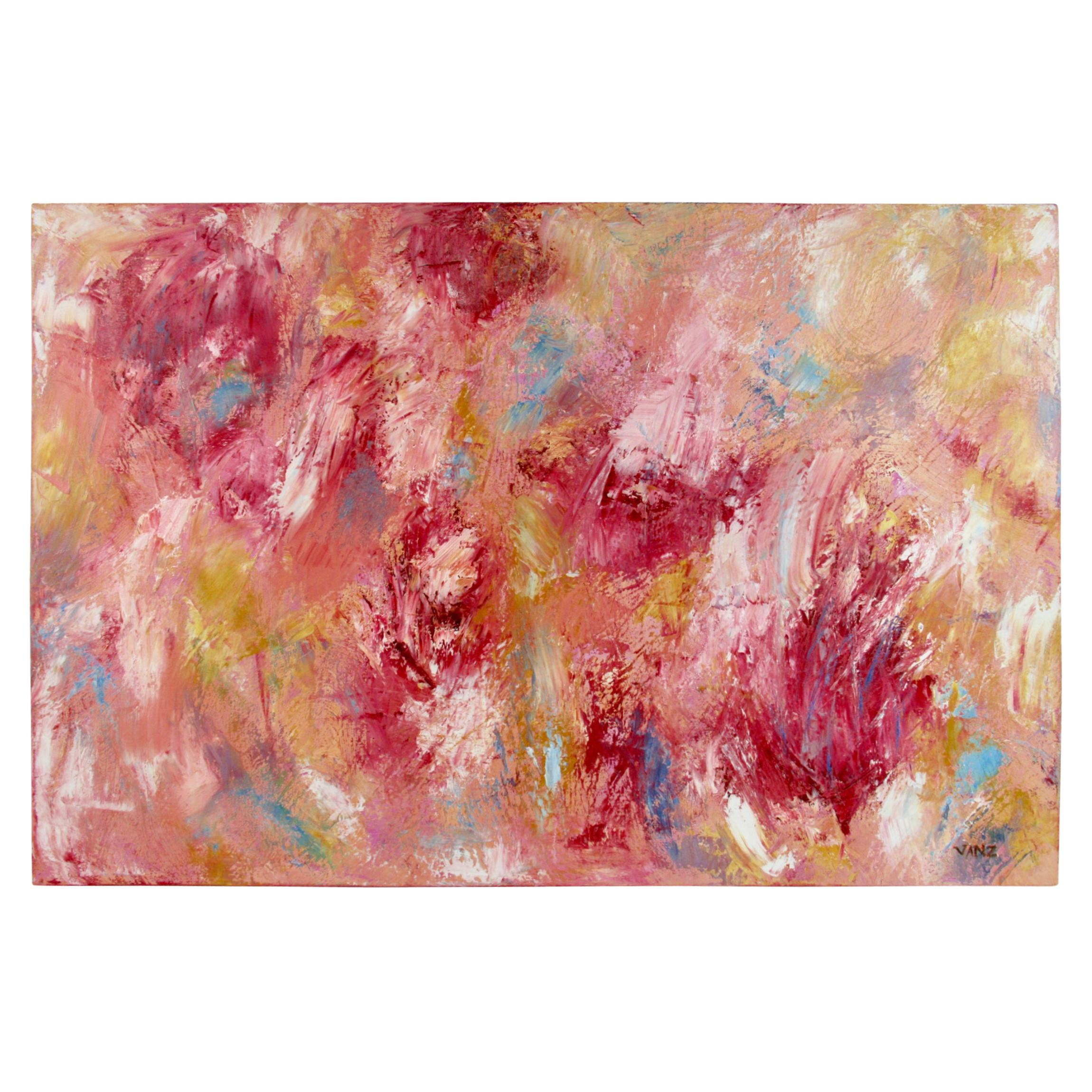 Red Floral Abstract Painting
