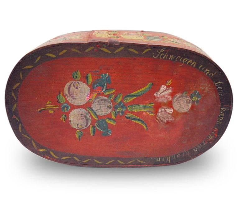 Folk Art Red Floral Painted Box, 19th Century For Sale