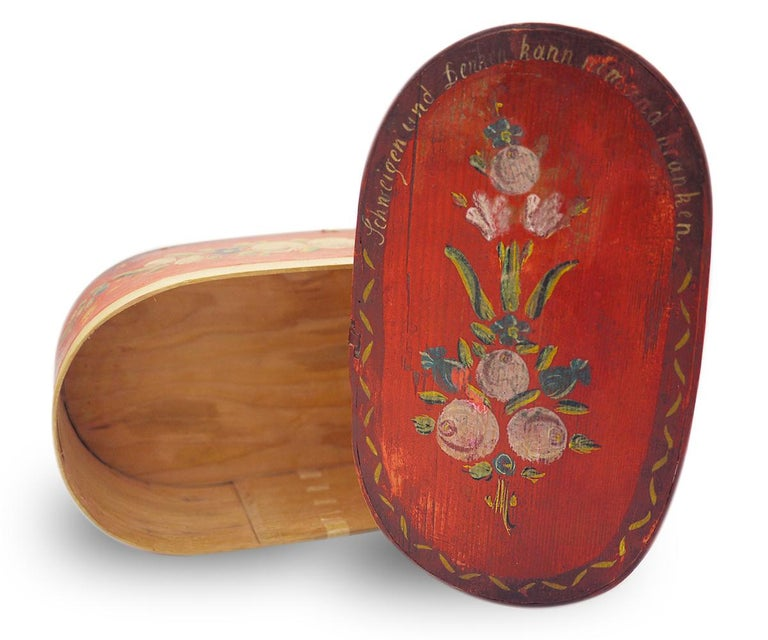 Italian Red Floral Painted Box, 19th Century For Sale