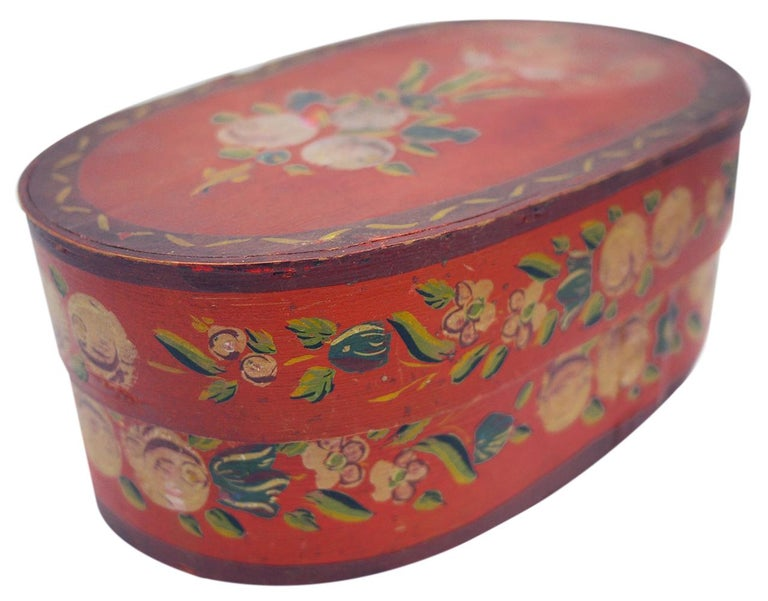 Early 19th Century Red Floral Painted Box, 19th Century For Sale