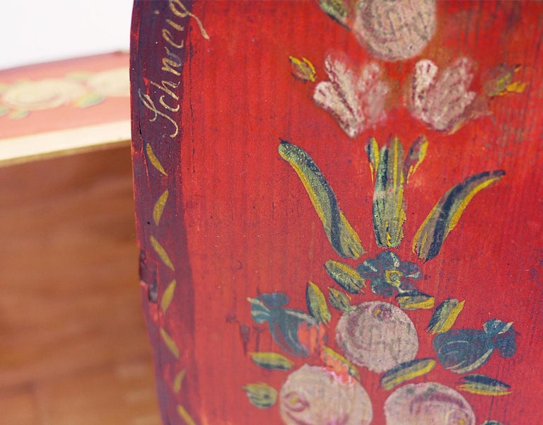 Fir Red Floral Painted Box, 19th Century For Sale