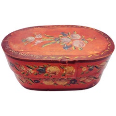Red Floral Painted Box, 19th Century