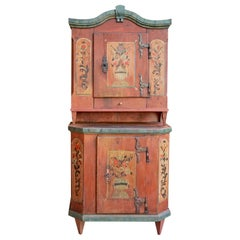 Red Floral Painted Cabinet, 1790, Central Europe