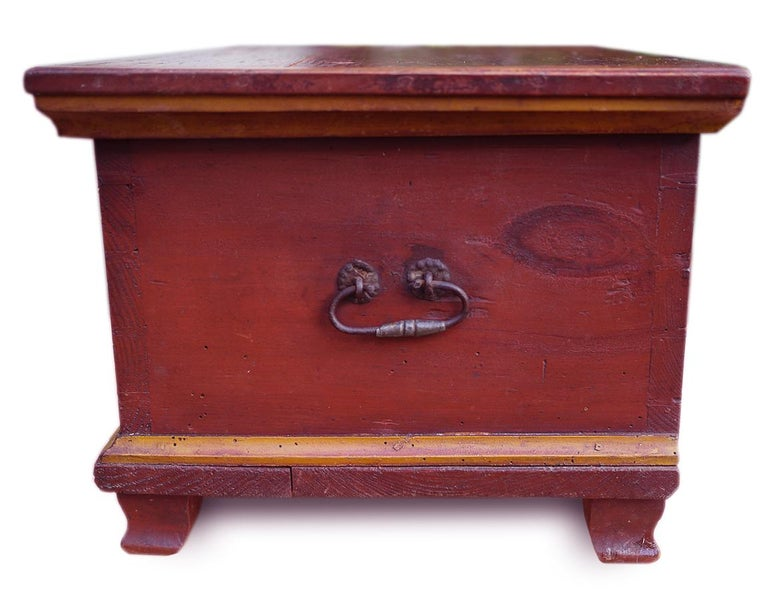 Italian Red Floral Painted Chest Box, 1857 For Sale
