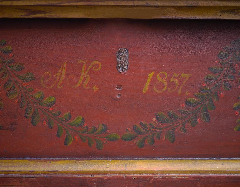 Red Floral Painted Chest Box, 1857 In Good Condition For Sale In Albignasego, IT