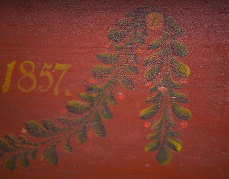 Mid-19th Century Red Floral Painted Chest Box, 1857 For Sale