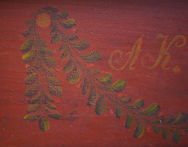 Fir Red Floral Painted Chest Box, 1857 For Sale