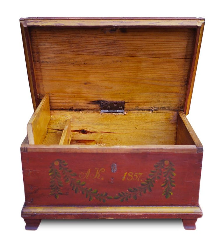 Red Floral Painted Chest Box, 1857 For Sale 1
