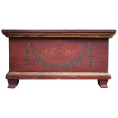 Red Floral Painted Chest Box, 1857