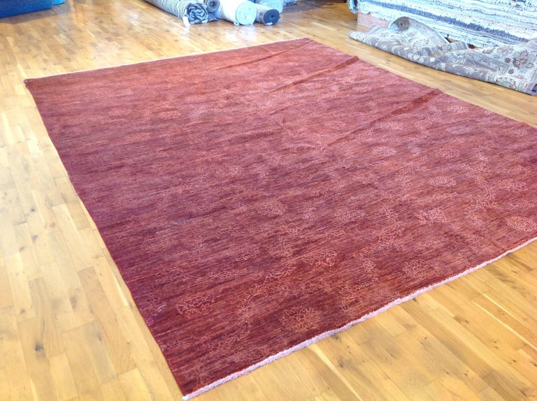 Hand-Knotted Red Floral Stencil Design Wool and Silk Area Rug For Sale