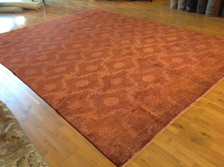 Contemporary Red Floral Stencil Design Wool and Silk Area Rug For Sale