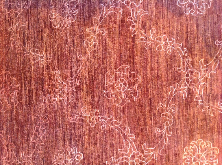 Red Floral Stencil Design Wool and Silk Area Rug For Sale 1