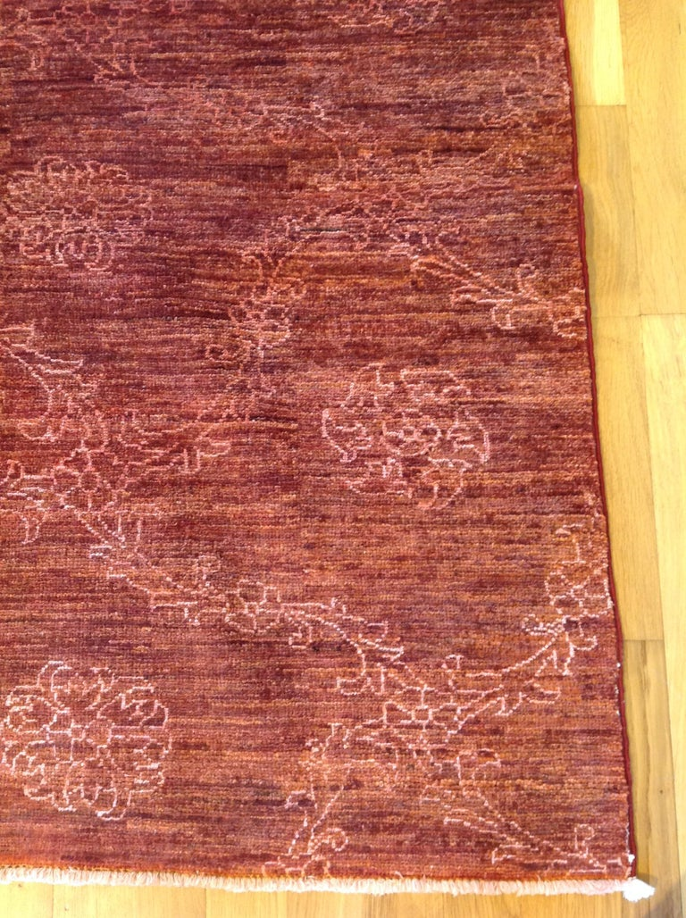 Red Floral Stencil Design Wool and Silk Area Rug For Sale 3