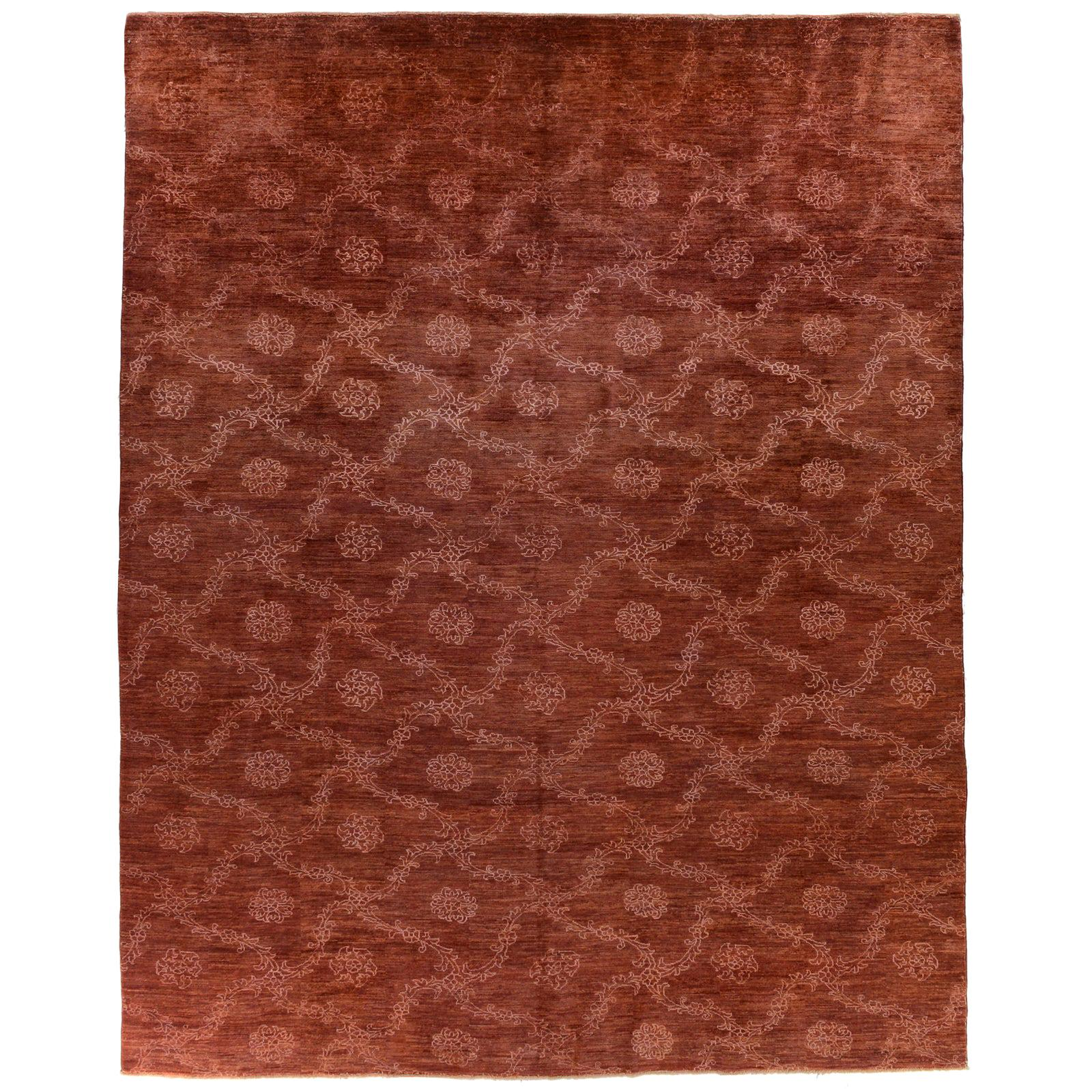 Red Floral Stencil Design Wool and Silk Area Rug