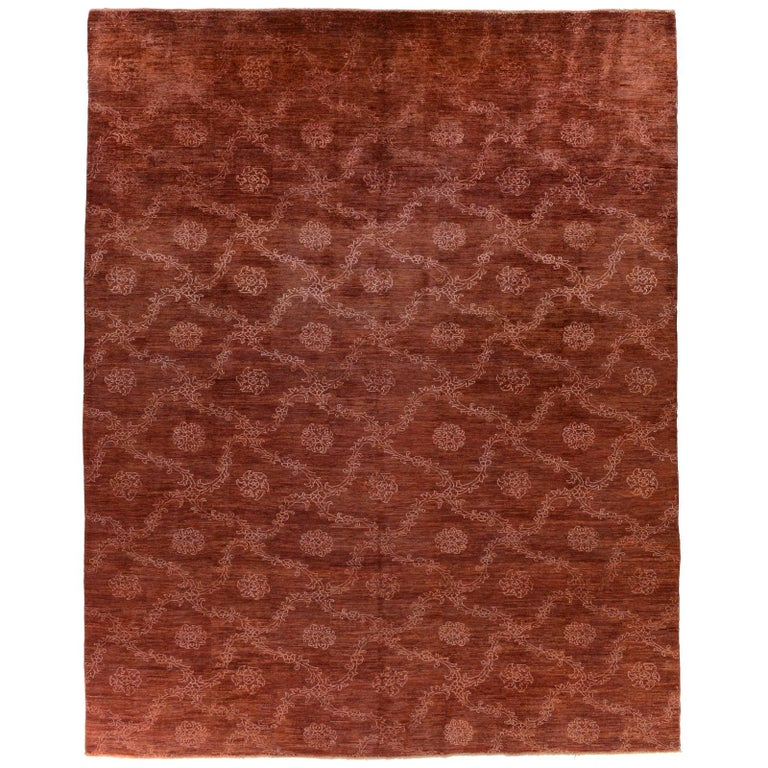 Red Floral Stencil Design Wool and Silk Area Rug For Sale