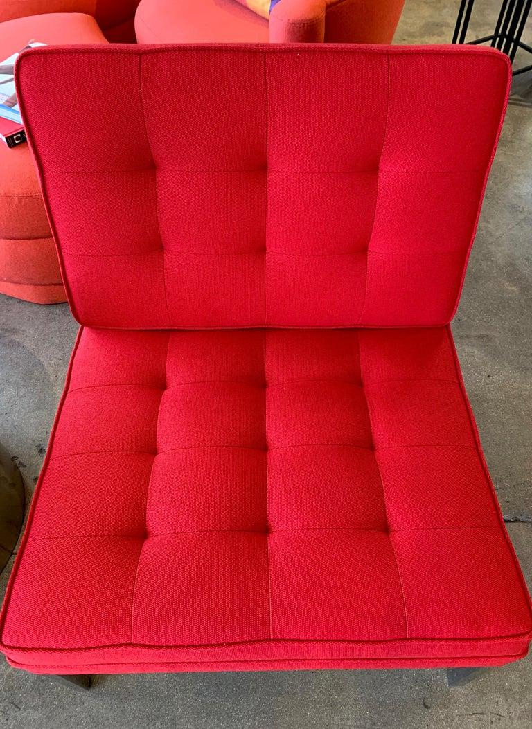 Red Florence Knoll Lounge Chairs For Sale 3