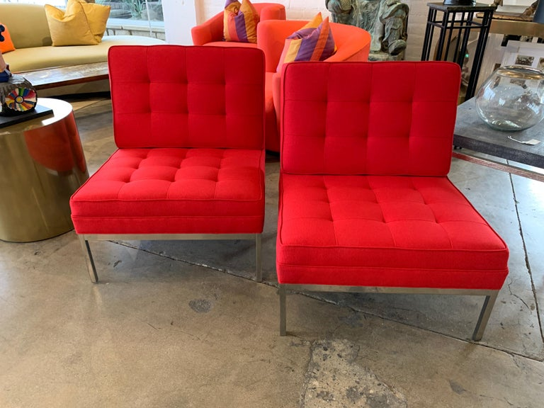 American Red Florence Knoll Lounge Chairs For Sale
