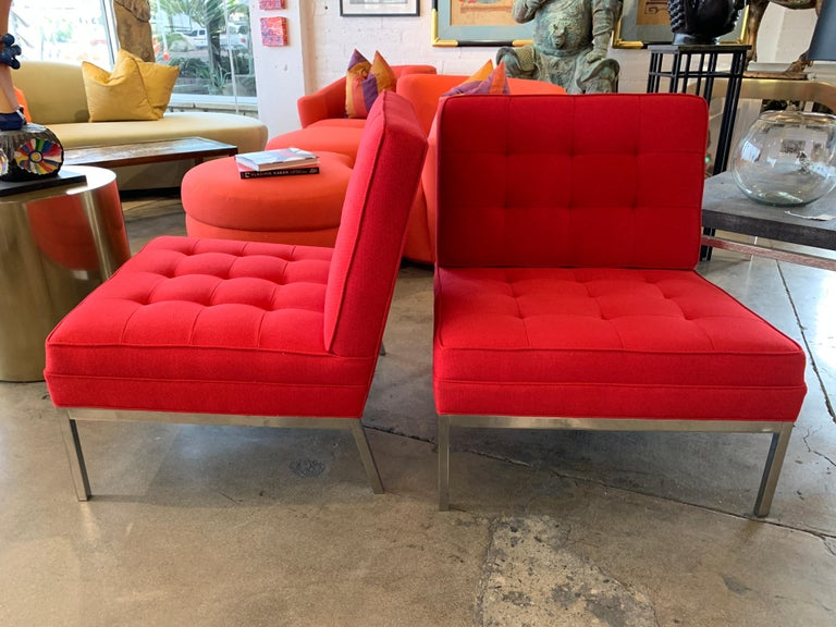 Machine-Made Red Florence Knoll Lounge Chairs For Sale