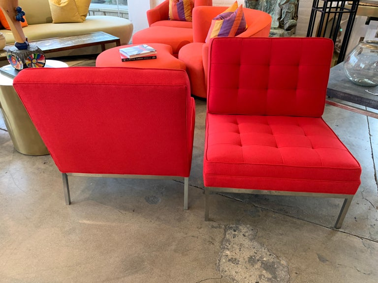 Red Florence Knoll Lounge Chairs In Good Condition For Sale In Palm Springs, CA