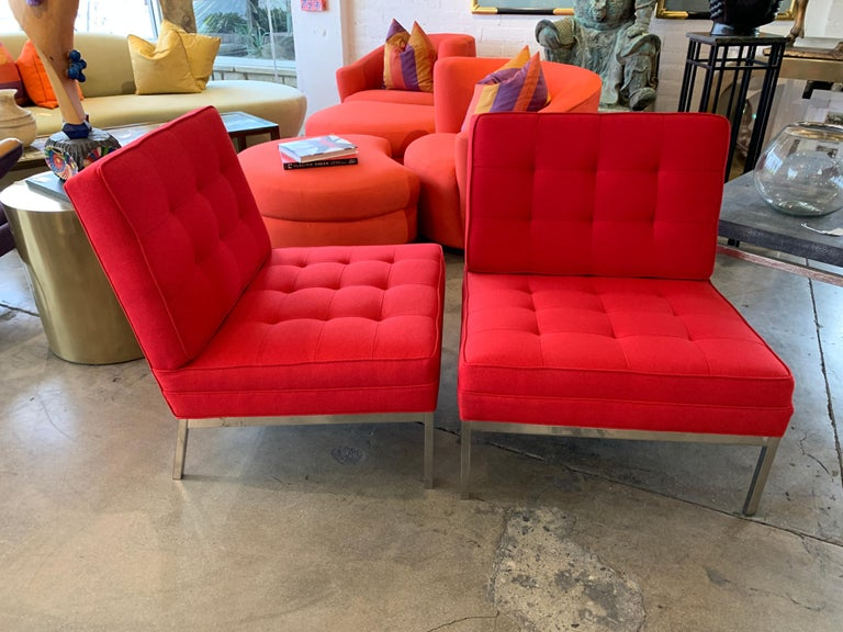 20th Century Red Florence Knoll Lounge Chairs For Sale