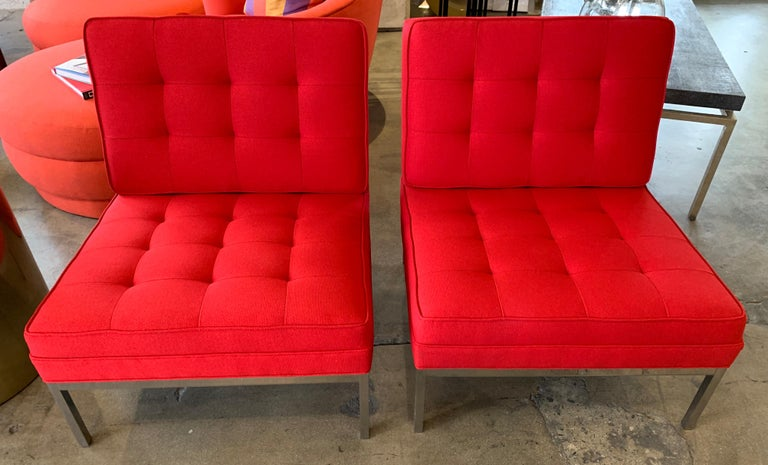 Steel Red Florence Knoll Lounge Chairs For Sale