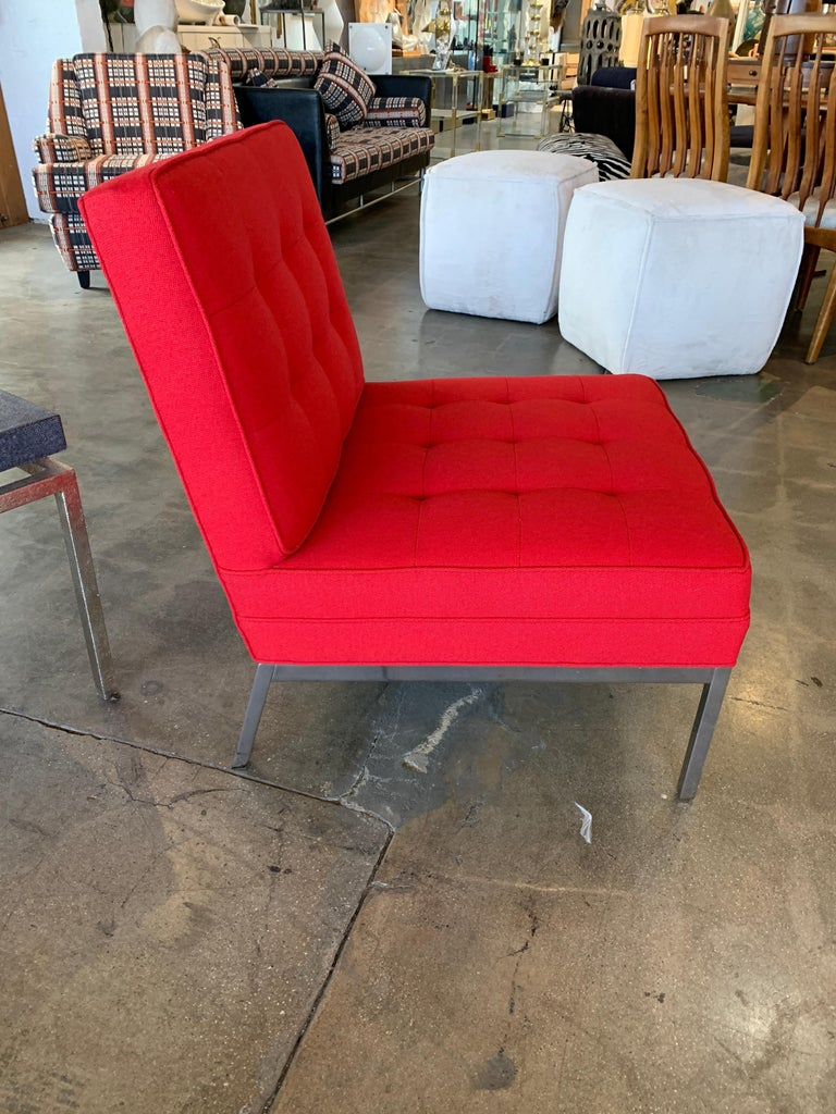 Red Florence Knoll Lounge Chairs For Sale 1