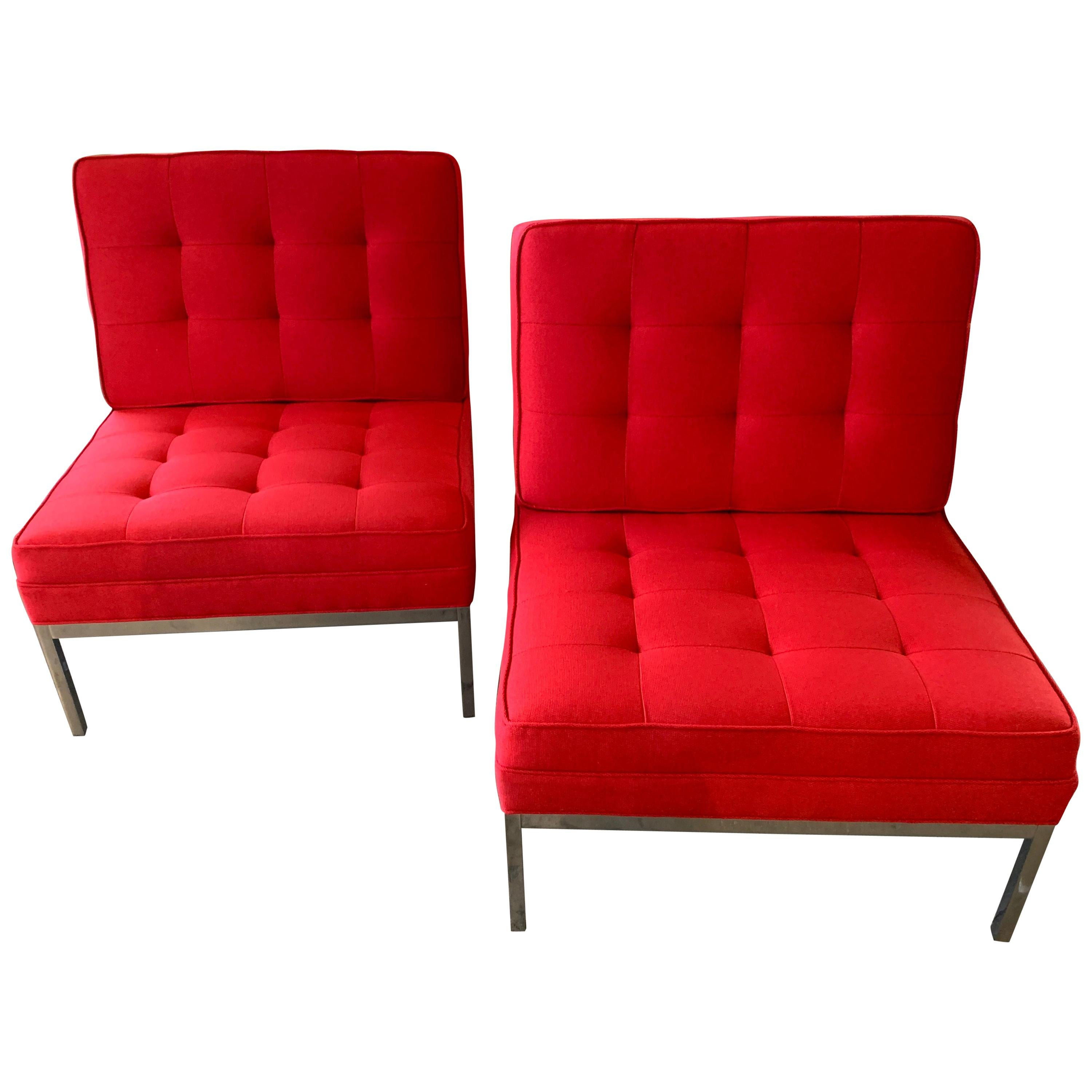 Red Florence Knoll Lounge Chairs