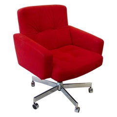 Red Florence Knoll Style Swivel Tilt Desk Chair by Fortress Furniture