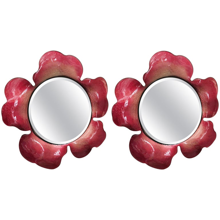 Red Flower Mirrors For Sale