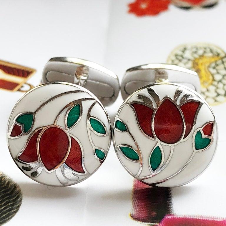 Red Flower White Setting Hand Enameled Sterling Silver T-Bar Back Cufflinks For Sale 5