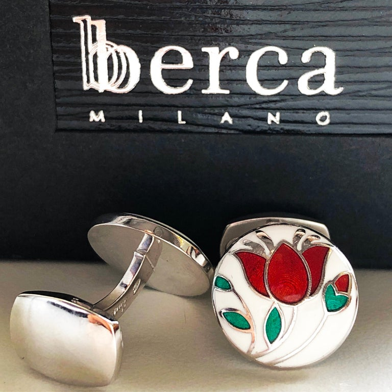 Red Flower White Setting Hand Enameled Sterling Silver T-Bar Back Cufflinks For Sale 6