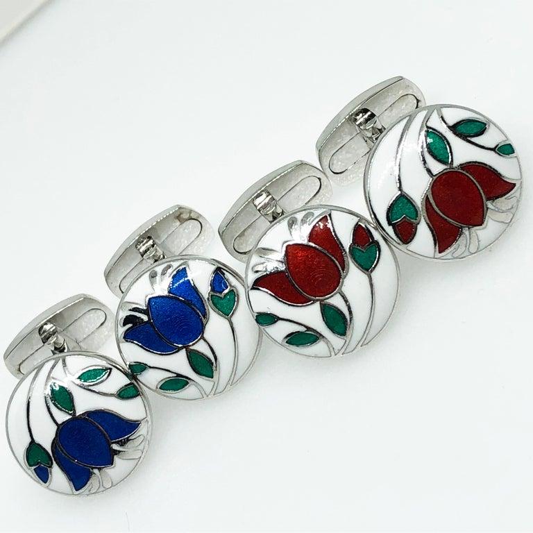 Red Flower White Setting Hand Enameled Sterling Silver T-Bar Back Cufflinks For Sale 9