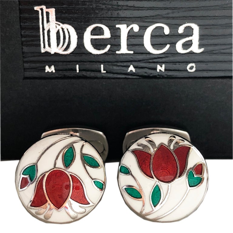 Chic, Unique yet Timeless Hand Enameled Red Flower, Green Leaves, in a Round White Setting Cabochon Sterling Silver Cufflinks, T-bar back. In our Smart Black Box and Pouch.  Front Diameter about 0.596 inches.