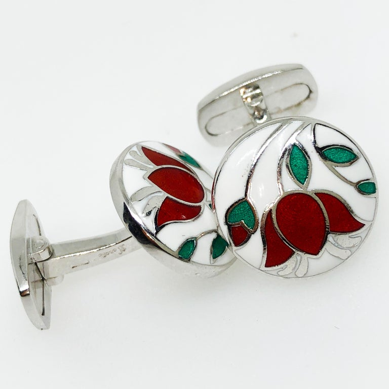 Contemporary Red Flower White Setting Hand Enameled Sterling Silver T-Bar Back Cufflinks For Sale