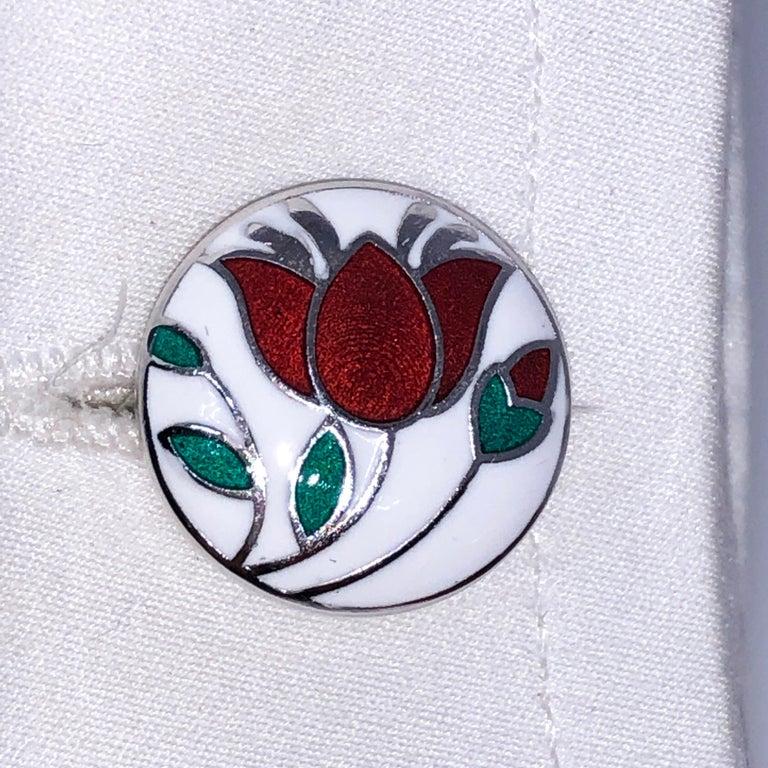 Men's Red Flower White Setting Hand Enameled Sterling Silver T-Bar Back Cufflinks For Sale
