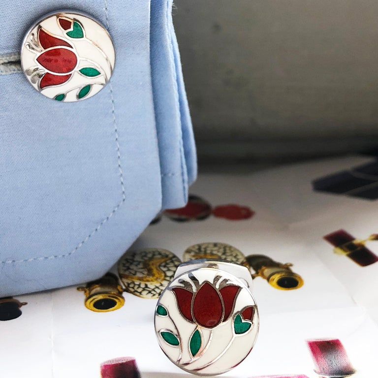 Red Flower White Setting Hand Enameled Sterling Silver T-Bar Back Cufflinks For Sale 2