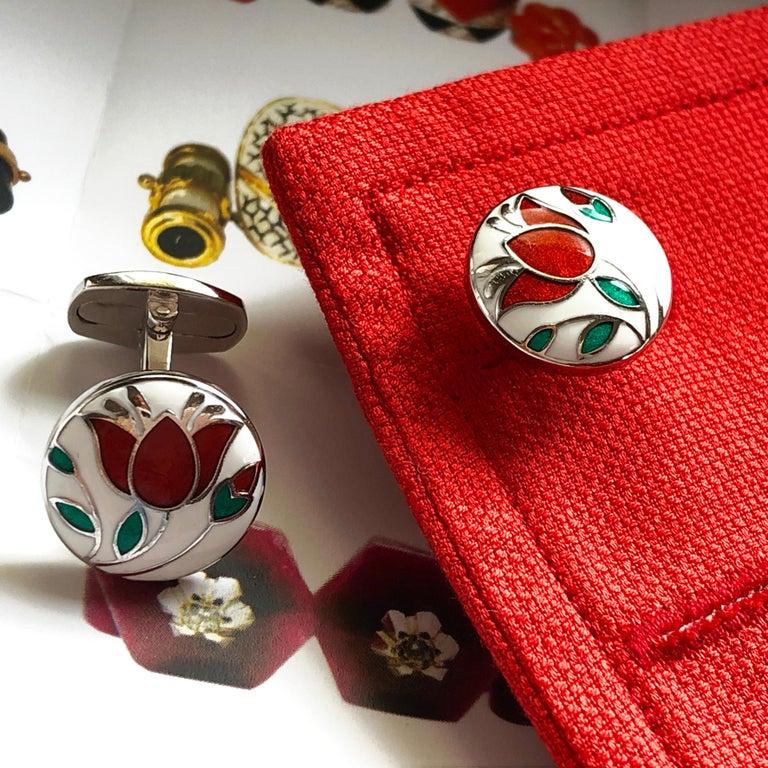 Red Flower White Setting Hand Enameled Sterling Silver T-Bar Back Cufflinks For Sale 3