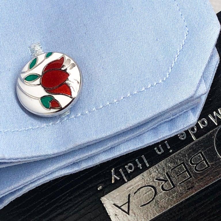 Red Flower White Setting Hand Enameled Sterling Silver T-Bar Back Cufflinks For Sale 4