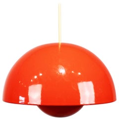 Red Flowerpot, Model VP1, Pendant Designed by Verner Panton in 1968