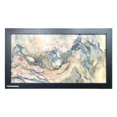 """Red Flowers Vista Extraordinary Natural Stone """"Painting"""", One-of-a-kind"""