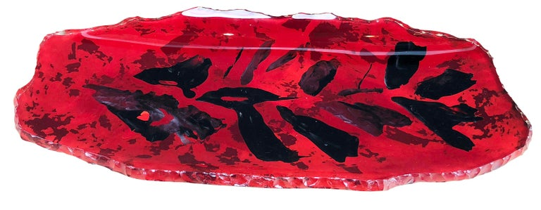 Glass Red Fontana Arte Centrepiece or Wall Decoration by Dube' For Sale