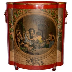 Red Footed Tole Tin Waste Basket with Decoupage Print Midcentury