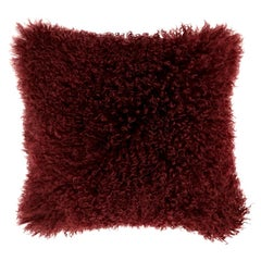 Red Fur Pillow, Mongolian Sheepskin Cushion