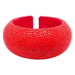 Red Galuchat Cuff Bracelet