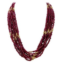 Red Garnet and Gold Multi-Strand Necklace